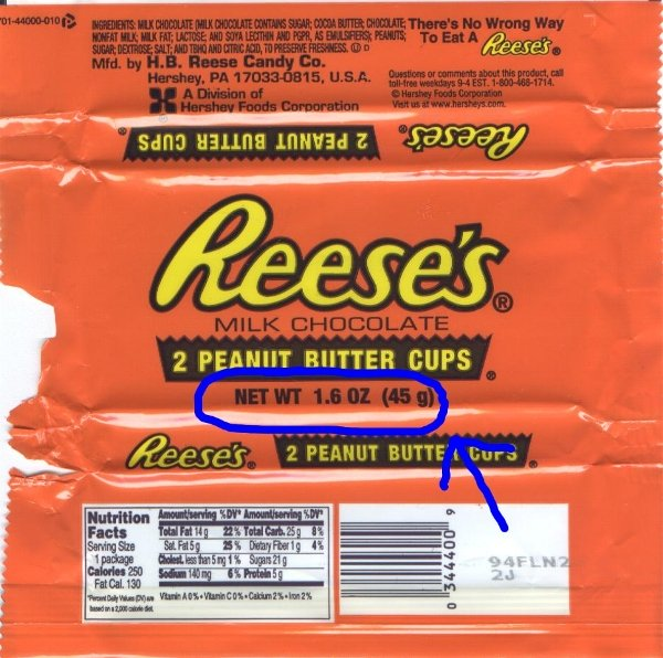 Calories in a peanut butter cup